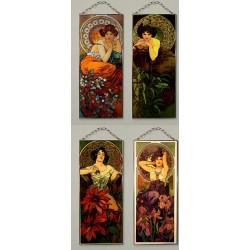 16 vitráží Alfonse Muchy, Jaro, Léto, Podzim Zima, atd.