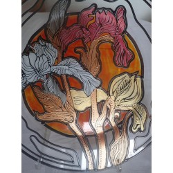 Irises- plate - glass, bright, hand-painted decorative plate
