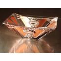 Gold Bowl - Massive, glass, bright, hand-painted decorative bowl, Original Sekyt Art Studio, Product of Czech glass factories