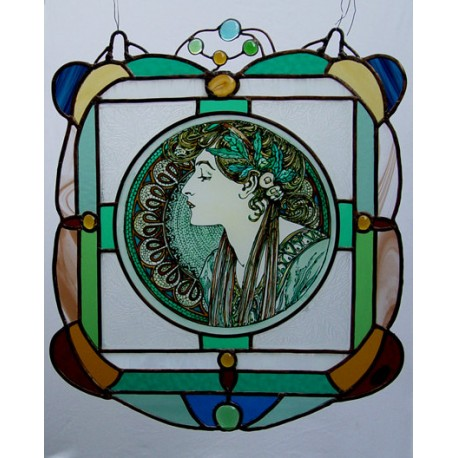 Alphonse Mucha, Flower. Stained Glass. Window Panel with lighting system.