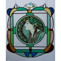 Alphonse Mucha - Laurel, Stained Glass Window Panel, Original hand-painted by Sekyt Art Studio