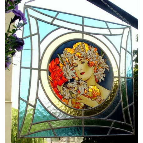 Alphonse Mucha . Stained Glass Window Panel. The Flower.Hand painted.AIRBRUSH.ORIGINAL Sekyt art studio.