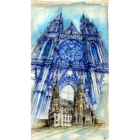 "Prague Castle - St.Vitus Cathedral, Original painting 29.5"" x 16.5"" inches"