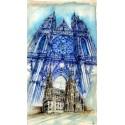 "Prague Castle - St.Vitus Cathedral, Original painting 29.5"" x 16.5"" inches"