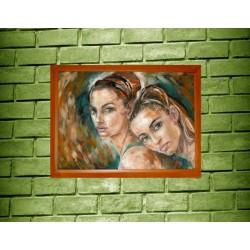 Dívky - Originální olejová malba 71 x 76,2 cm