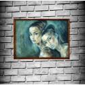 Dívky II - Originální olejová malba 71 x 76,2 cm
