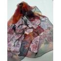 Hand-painted, Silk, Chiffon. Scarf - Rose