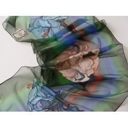 Hand-painted, Silk, Chiffon. Scarf - Flower - Simona