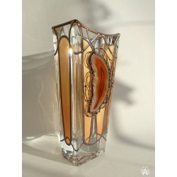 Golden vase, Massive, glass, bright, hand-painted decorative vase