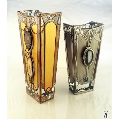Golden vase, Massive, glass, bright, hand-painted decorative vase