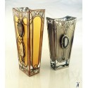 Silver Vase. Massive, glass, bright, hand-painted decorative vase. Product of Czech glass factories.