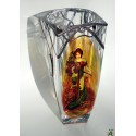 Alphonse Mucha-Spring.Massive glass.Hand-painted decorative vase. Product of Czech glass factories
