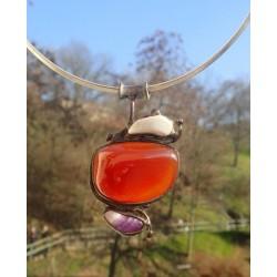 Necklace with Carnelian, Amethyst, Morganite stones