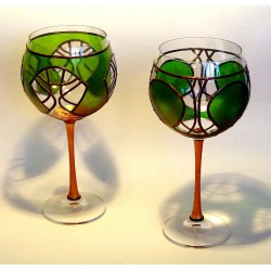 Set of 2 Colorful Hand Painted Wine Glasses