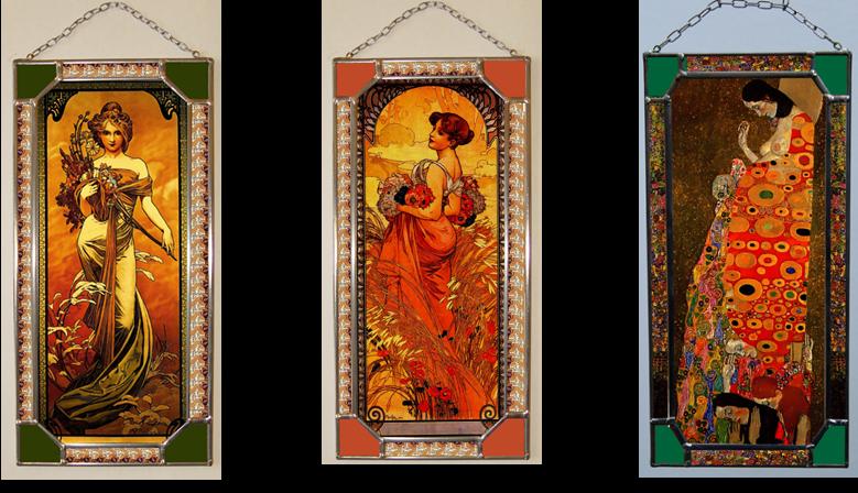 Drobné vitráže Alfonse Muchy, Gustava Klimta a Mileny Sekytové