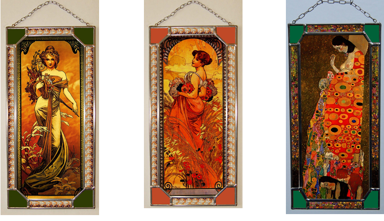 Small products Alphonse Mucha, Milena Sekyt and Gustav Klimt